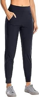 CRZ YOGA Women's Sweatpants Double-layer Joggers Pants Side Pockets with Zipper Elasticity Waist