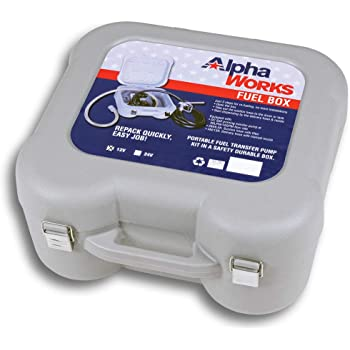 AlphaWorks Diesel Fuel Box Transfer Pump Kit Portable 10GPM/40LPM Elite Heavy Duty Electric Self-Priming DC 12V Includes Alligator Clamps, Aluminum Manual Nozzle, Delivery & Suction Hose w/Filter