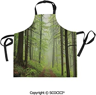 SCOCICI Unisex Waterproof and Dirty Resistant Printing Kitchen Apron,Trail Trough Foggy Alders Beeches Oaks Coniferous Grove Hiking Theme,for Cooking Baking Gardening