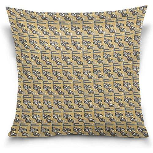 BK Creativity Kissenbezüge,Kawa Printing Cotton Velvet Square Cushion Cover Pillowcase,45x45cm