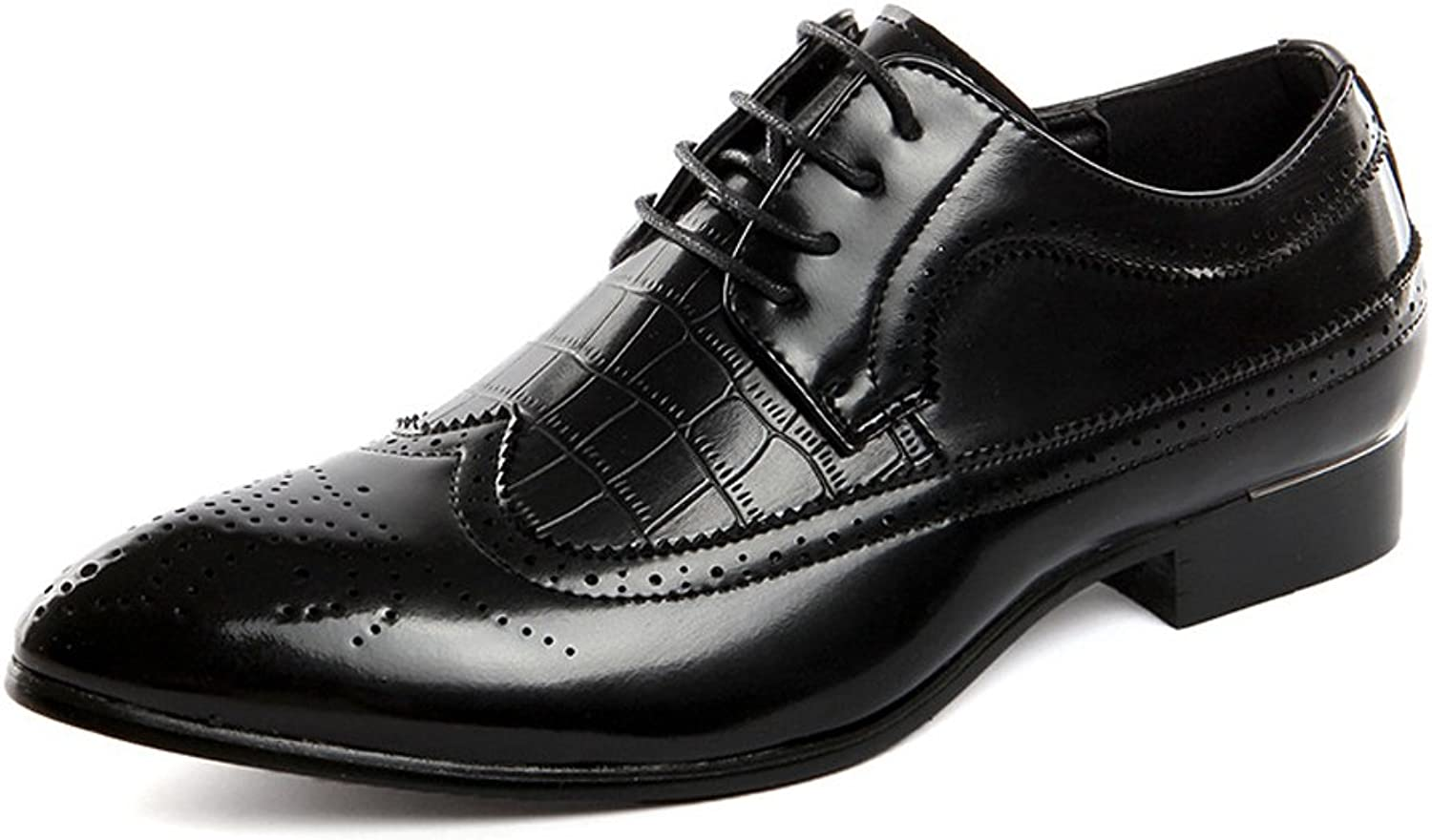Men's Brogue shoes Classic Hollow Carving Splice PU Leather Wingtip Lace Up Lined Oxfords (color   Black, Size   9 UK)