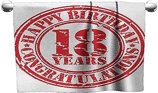 Bensonsve Premium 18th Birthday,Vintage Happy Birthday and Sweet Eighteen Stamp Icon Retro Image Print,Red and White,Towel Organizer for Bathroom