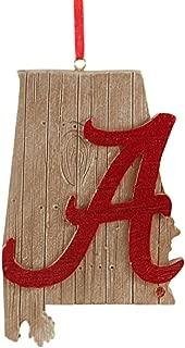 Alabama University Hanging State Shaped Ornament