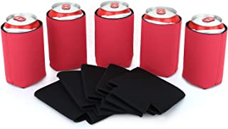 Nuovoware Can Coolers Sleeves Neoprene, [10-Pack] Premium Collapsible Insulated Drink Coolies for Cans Bottles Beer Soft Drink, Perfect for BBQ, Parties, DIY Projects and More, 5 Black + 5 Red
