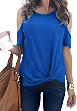 XLarge Beautees Girls Big Cold Shoulder Printed Top Royal Blue