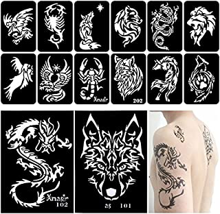 Xmasir 34 Pieces Airbrush Temporary Tattoo Stencils Kit for Men Arm Back Body Panit Reusable Glitter Tattoo Sticker 2 Large+32 Small Size