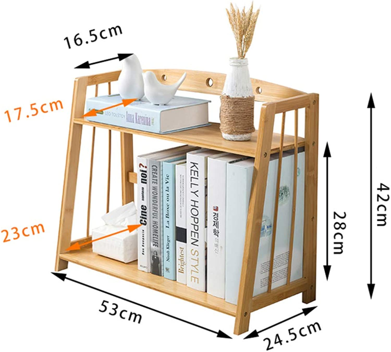 Desktop Bookshelf, Simple Student Bookcase Modern Desktop Decorative Storage Rack Strong and Sturdy-E