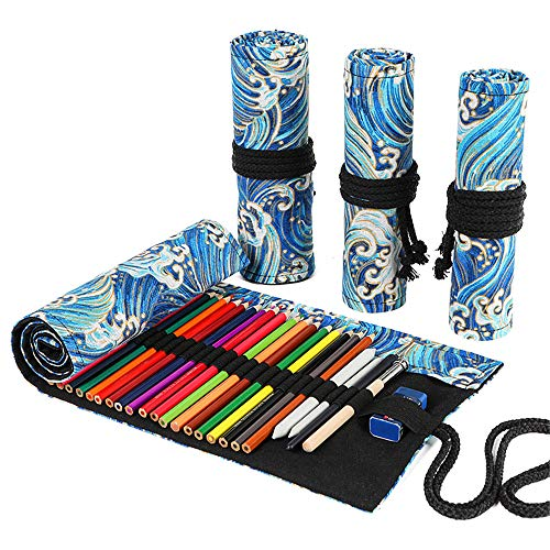 Funny live 36/48/72 Slots Colored Pencil Wrap Pencils Roll Holder Coloring Pencils Organizer Holder Colored Pen Paint Brush Storage Pouch Portable for Artist Student (Blue Ocean, 72 Slots)