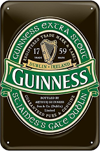 Guinness Metal Sign With Iconic Ireland Label (20Cm X 30Cm)