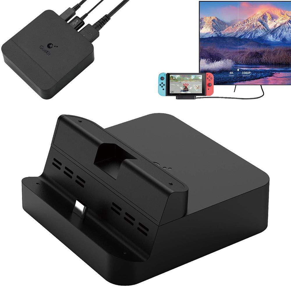 GeeekPi GuliKit NS05 Switch Dock Set, Base de TV portátil para Nintendo Switch con Soporte de Carga USB-C PD, Adaptador HDMI y Puerto USB 3.0, Compatible con Modo Samsung Dex/Modo PC Huawei: