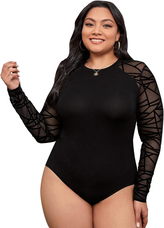 Romwe Women's Plus Size Geo Mesh Long Sleeve Round Neck Slim Fit T Shirt Bodysuit Tops