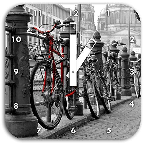 Vélos axe navigable Horloge murale noir / blanc, diamètre 28cm carré avec des mains blanches et le visage, des objets de décoration, Designuhr, composite aluminium très agréable pour séjour, bureau