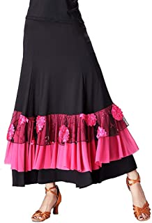 YROYKRRE Moderner Flamenco Tango Aufführungspraxis Langer Bodentanzrock, Ballsaal Kostüm Waltz Bauchtanz-Lange Rock-Frauen-Kleid