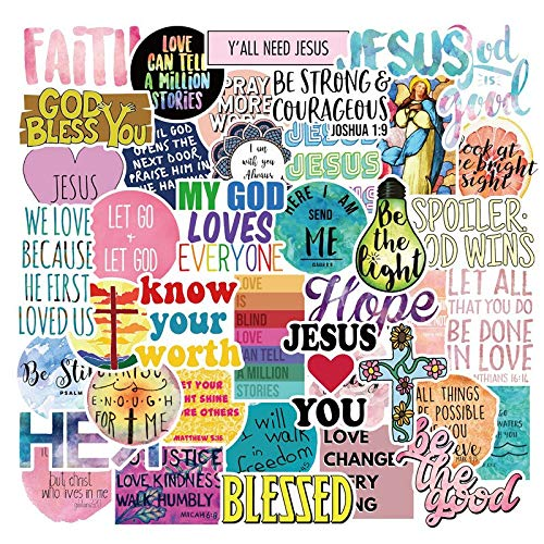 Jesus Christians Stickers Faith Religion Positive Affirmation Waterproof Laptop Stickers, Waterbottle, Cool/Trendy Vinyl Decal for Teen Kids Adults, Computer Notebook Snowboard Guitar