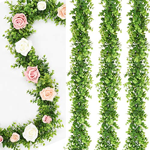 Artiflr 4 Strands Artificial Vines Faux Eucalyptus Garland, Fake Eucalyptus Greenery Garland Wedding Backdrop Arch Wall Decor, 6 Feet/pcs Fake Hanging Plant for Table Festival Party Decorations