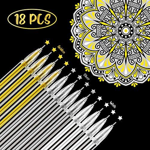 18 Stücke Weiß Gold Silber Gelschreiber Markieren Zeichnung Kunst Design Lieferung 0,5 mm Stifte für Schwarz Papier Zeichnung Skizzieren Illustration Hochzeit Einladungen und Erwachsenen Malbuch