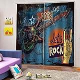 Cortinas Opacas Música Rock Reduccion Ruido Proteccion Intimidad Cortinas...