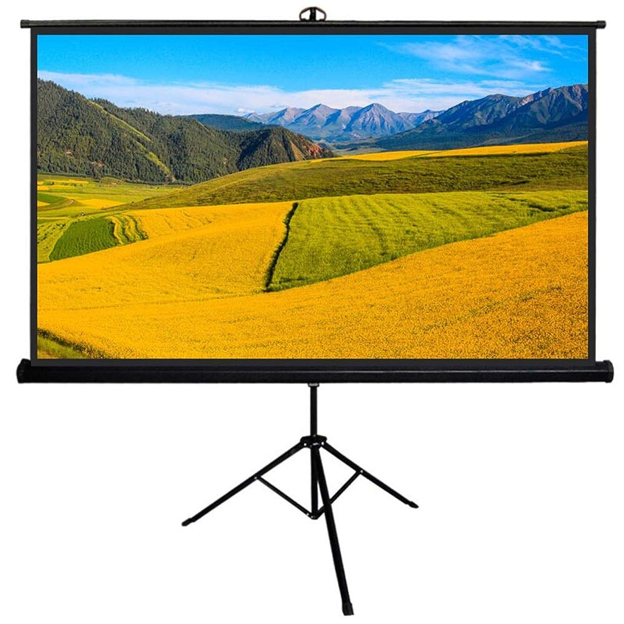 ロック慎重にプーノプロジェクタースクリーン モバイルビデオ画面 - 1:ホーム?シアターシネマ屋内屋外のプロジェクタースクリーンのために1 HD三脚スクリーンスタンド付き スクリーン (Color : Black, Size : 60inch)