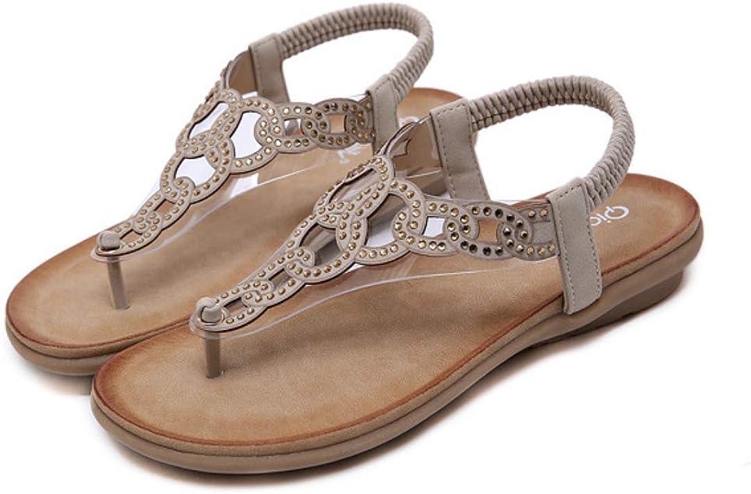 Women's Crystal Bohemian Flats Elastic Strap Thong Ankle Strap C