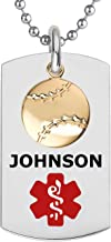 Divoti Deep Custom Laser Engraved PVD Ball Dangle Charm Medical Alert Necklace for Men/Women, Medical ID Necklace, Medical Dog Tag and (24/28 in) Chain w/Free Engraving