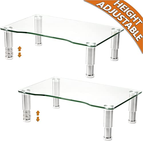 2 Pack Computer Monitor Riser with Height Adjustable Multi Media Desktop Stand for Flat Screen LCD LED TV, Laptop/Notebook/Xbox One product image