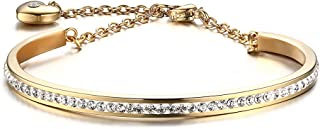 BEMI Elegent CZ Pave Friendship Bracelet C Bangle with Link Adujstable Heart Charm Bracelets for Women