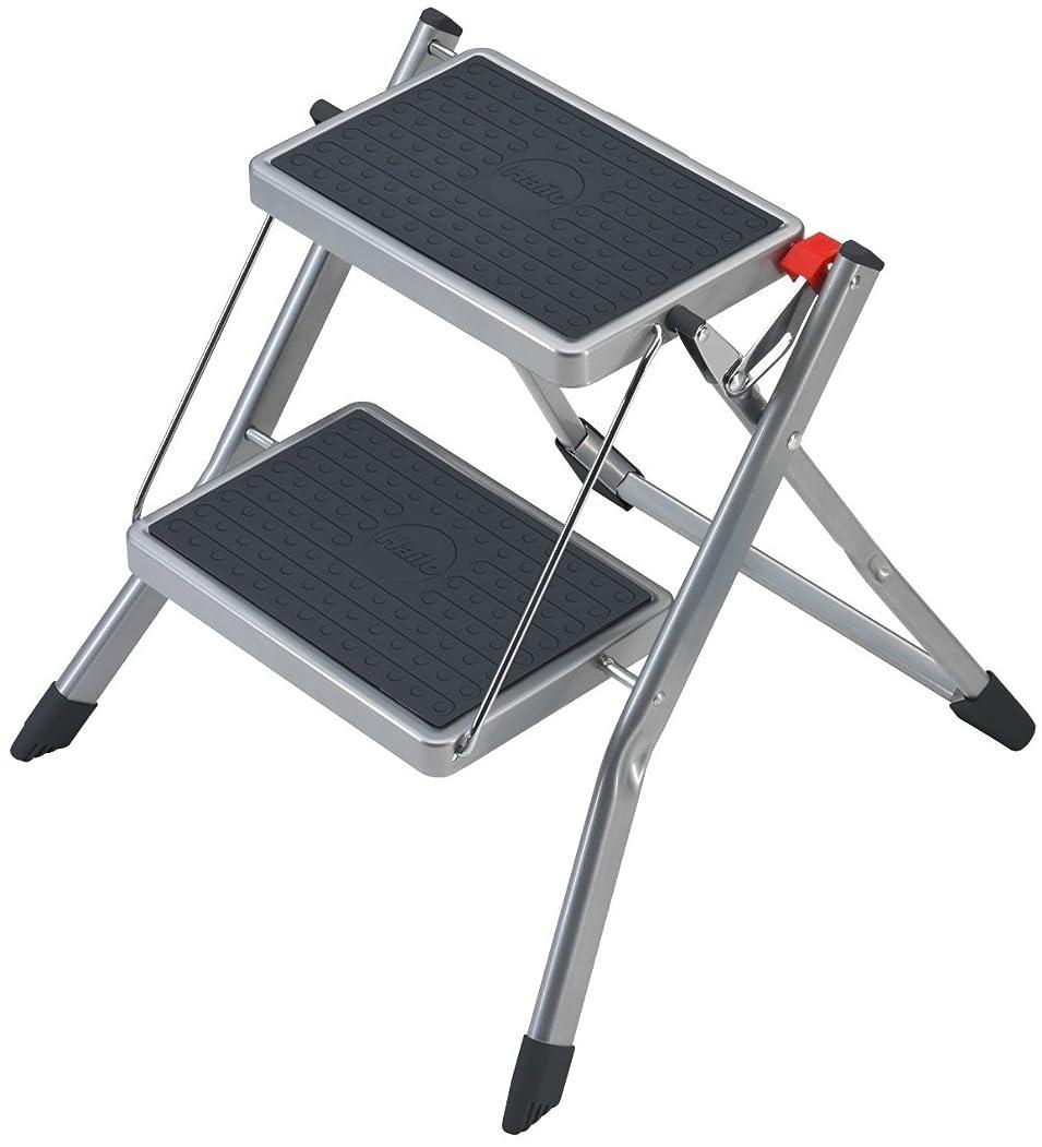 基本的なこしょう引っ張るHailo 4310-151ミニ小さくてコンパクトな折り畳み式ステップ、滑り止めマット付き2つの大きなステップ、150 kg容量