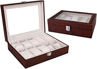 Watch Display Box Organizer,Pu Leather with Glass Top,Brown