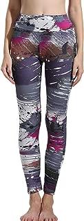 JOFOW Womens Leggings Cropped Splash Line Print High Waisted Tunic Casual Skinny Slim Stretch Elastic Sport Yoga Pants
