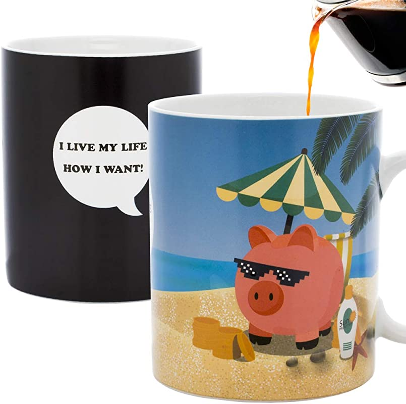 InGwest New Year Pig Coffee Mug Pig On The Beach Mug Changing Color Mug Heat Sensitive Mug