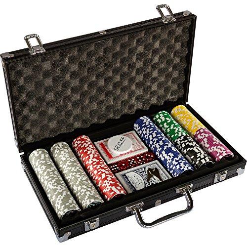 Ultimate Black Edition Pokerset, 300 hochwertige 12 Gramm METALLKERN Laserchips, 100% PLASTIKKARTEN, 2x Pokerdecks, Alu Pokerkoffer, 5x Würfel, 1x Dealer Button, Poker, Set, Pokerchips, Koffer, Jetons - 3