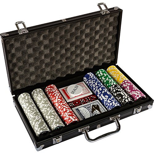 Ultimate Black Edition Pokerset, 300 hochwertige 12 Gramm METALLKERN Laserchips, 100% PLASTIKKARTEN, 2x Pokerdecks, Alu Pokerkoffer, 5x Würfel, 1x Dealer Button, Poker, Set, Pokerchips, Koffer, Jetons - 3