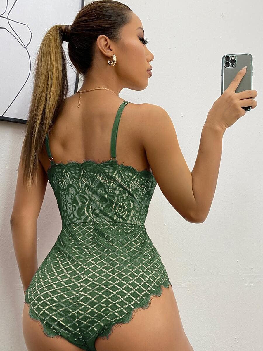 JYMBK Lace Jumpsuit Sheer Lace Cami Bodysuit (Color : Dark Green, Size : XS)