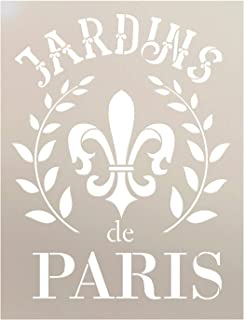 Jardins De Paris Stencil by StudioR12 | Wreath & Fleur French Word Art - Reusable Mylar Template | Painting, Chalk, Mixed Media | Use for Crafting, DIY Decor - STCL1415 (8.5
