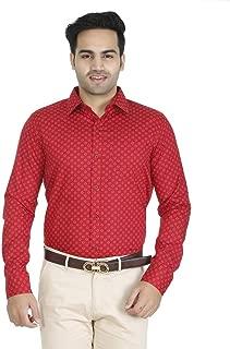 EL FIGO Men's Casual Full Sleeve RED Color Cotton Printed Slim FIT Shirt