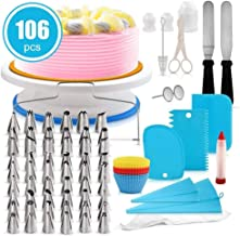 Cake Decorating Kit, lesgos 106 PCS Baking Supplies With 11 Inch Cake Turntable, Icing Tips, Cake Spatulas, Pastry Tools, Cutter, Cake Nozzles for Beginners and Professional