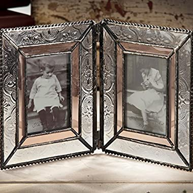 J Devlin Pic 172-2 Double Picture Frame Holds Two 2x3 Photo Frame Vintage Stained Glass School Pictures Multi Photos