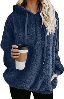 Macondoo Women Top Pullover Hoodies Thick Fleece Drawstring Sweatshirts