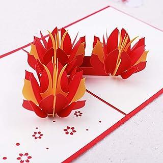 BC Worldwide Ltd fatto a mano 3D pop up birthday card acqua di loto rosso arancio fiore giardino San Valentino anniversari...