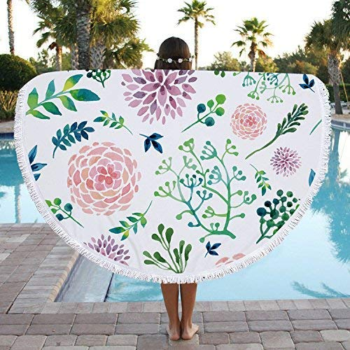 Zeronal Large Thick Round Green Leaf Floral Microfiber Beach Towel Blanket, Ultra Soft Sand Free Water Absorbent Quick Dry Picnic Tapestry Yoga Table Throw Mat Blanket with Tassels(59 in)