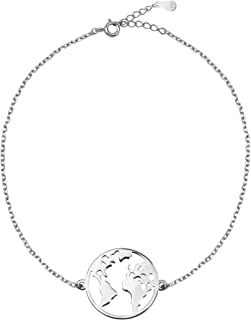Sofia Milani - Women's Bracelet 925 Silver - World Map Globe Pendant - 30175