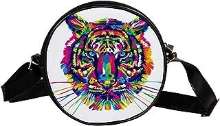 Coosun Umhängetasche mit Tiger, Tiere, Katze, Raubtiere, runde Umhängetasche für Kinder und Damen