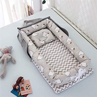 Luddy ベビーベッド 新生児 枕付き ベッドインベッド 折りたたみ式 携帯型ベビーベッド 添い寝 ポータブル 出産祝い 通気性抜群 洗濯可能 0-24ヶ月 グレー-象 85*45*12cm