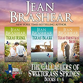 The Gallaghers of Sweetgrass Springs Boxed Set Two: Books 4-6     Texas Heroes              By:                                                                                                                                 Jean Brashear                               Narrated by:                                                                                                                                 Eric G. Dove                      Length: 17 hrs and 32 mins     3 ratings     Overall 5.0