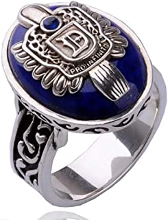 XCFS Antique Silver Plated Engraved Vampire Diaries Merchandise Band Ring Damon Salvatore Blue Stone Pattern Souvenir Dayl...