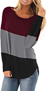 GAGA Women's Blouse Autumn Pullover Color-Block Long Sleeve Scoop Neck T-Shirts