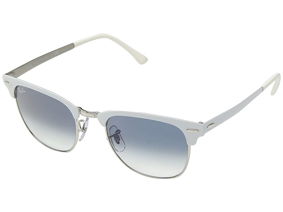 Ray-Ban Metal Clubmaster RB3716 51mm (Silver On White/Clear Gradient Blue) Fashion Sunglasses