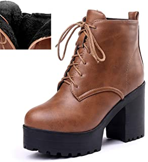 DETAIWIN Women Ankle Boots Lace Up Leather High Chunky Heels Platform Fur Lined Fashion Winter Warm Boots