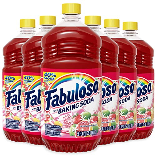Fabuloso All Purpose Cleaner Bulk, Baking Soda, Bathroom Cleaner, Toilet Cleaner, Floor Cleaner, Shower and Glass Cleaner, Mop Cleanser, 336oz Total (56oz|Case of 6)