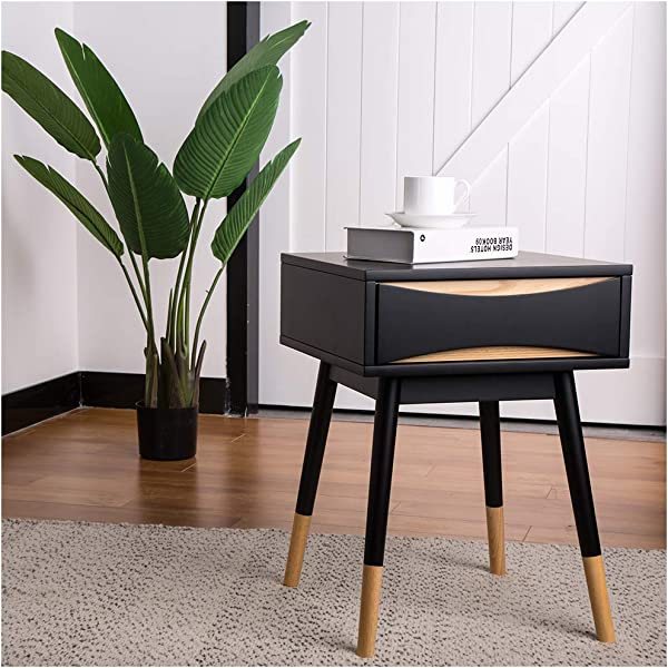Glitzhome End Table Modern Oslo End Table Drawer Night Stands 22 Inches High Night Stands End Tables End Table With Drawer End Table Decorations For Living Room Elegant Accent Furniture